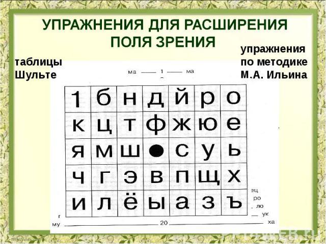 упражнения для расширения поля зрения таблицы Шульте упражнения по методике М.А. Ильина