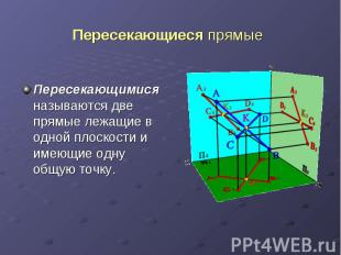 Пересекающиеся прямые Пересекающимися называются две прямые лежащие в одной плос