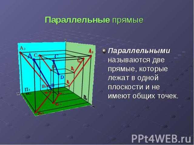 Параллельные прямые Параллельными называются две прямые, которые лежат в одной плоскости и не имеют общих точек.