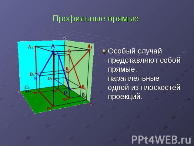 Профильные прямые Особый случай представляют собой прямые, параллельные одной из плоскостей проекций.