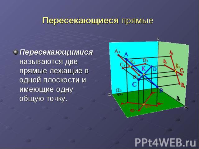 Пересекающиеся прямые Пересекающимися называются две прямые лежащие в одной плоскости и имеющие одну общую точку.