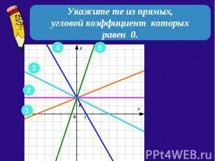Укажите те из прямых, угловой коэффициент которых равен 0.
