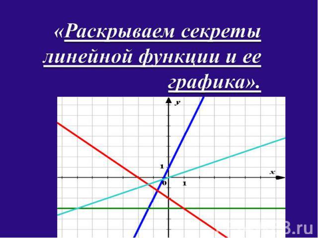 Раскрываем секреты линейной функции и ее графика