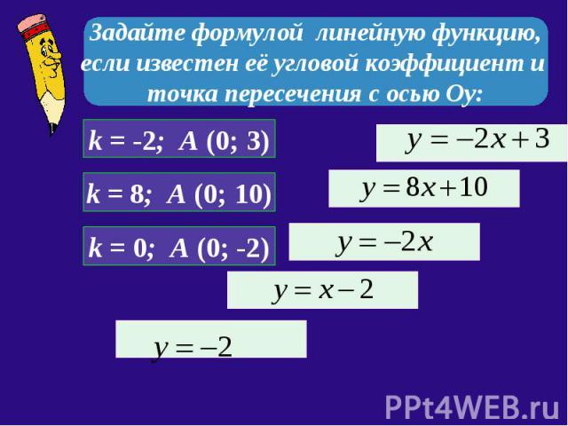 Задайте формулой линейную функцию, если известен её угловой коэффициент и точка пересечения с осью Оу: