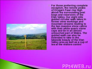 For those preferring complete escapism, the remote peaks of Drygarn Fawr rise hi