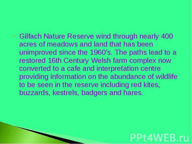 Gilfach Nature Reserve wind through nearly 400 acres of meadows and land that has been unimproved since the 1960's. The paths lead to a restored 16th Century Welsh farm complex now converted to a cafe and interpretation centre providing information …