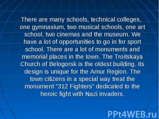 There are many schools, technical colleges, one gymnasium, two musical schools,
