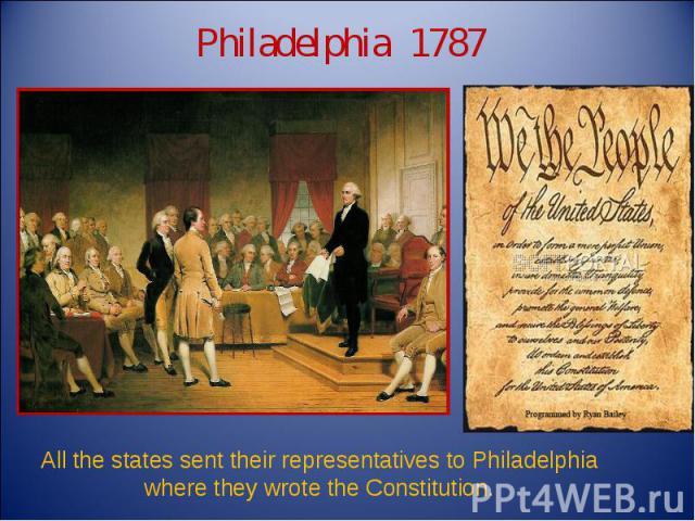 Philadelphia 1787 All the states sent their representatives to Philadelphia where they wrote the Constitution.