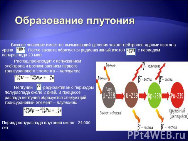 Образование плутония Важное значение имеет не вызывающий деления захват нейтронов ядрами изотопа урана . После захвата образуется радиоактивный изотоп с периодом полураспада 23 мин. Распад происходит с испусканием электрона и возникновением первого …