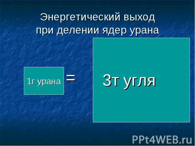 Энергетический выход при делении ядер урана