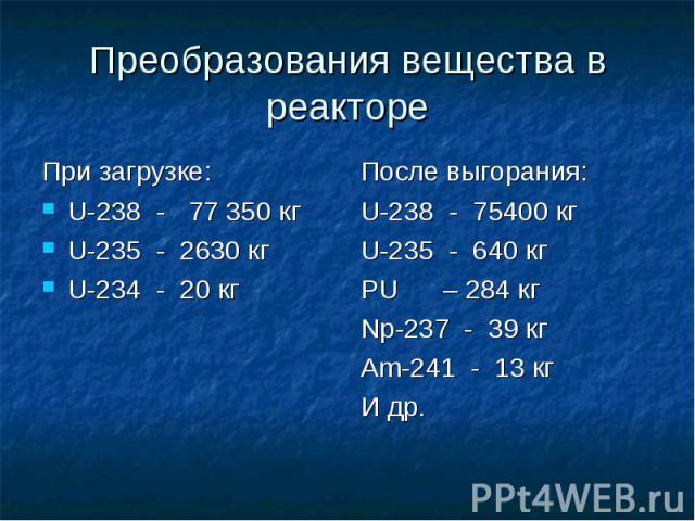 Преобразования вещества в реакторе При загрузке: U-238 - 77 350 кг U-235 - 2630 кг U-234 - 20 кг После выгорания: U-238 - 75400 кг U-235 - 640 кг PU – 284 кг Np-237 - 39 кг Am-241 - 13 кг И др.