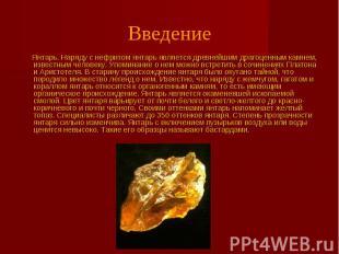 Введение Янтарь. Наряду с нефритом янтарь является древнейшим драгоценным камнем