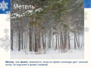 Метель Метель, или вьюга, начинается, когда во время снегопада дует сильный вете