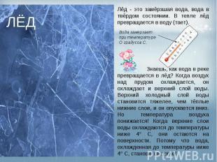 ЛЁД Лёд - это замёрзшая вода, вода в твёрдом состоянии. В тепле лёд превращается