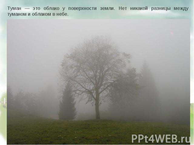 Туман — это облако у поверхности земли. Нет никакой разницы между туманом и облаком в небе.