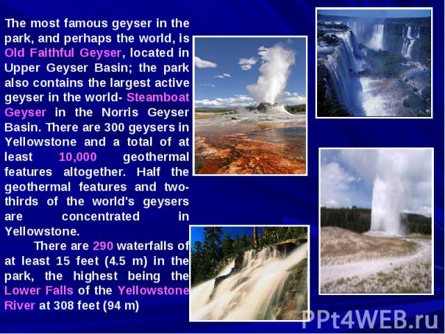 The most famous geyser in the park, and perhaps the world, is Old Faithful Geyser, located in Upper Geyser Basin; the park also contains the largest active geyser in the world- Steamboat Geyser in the Norris Geyser Basin. There are 300 geysers in Ye…