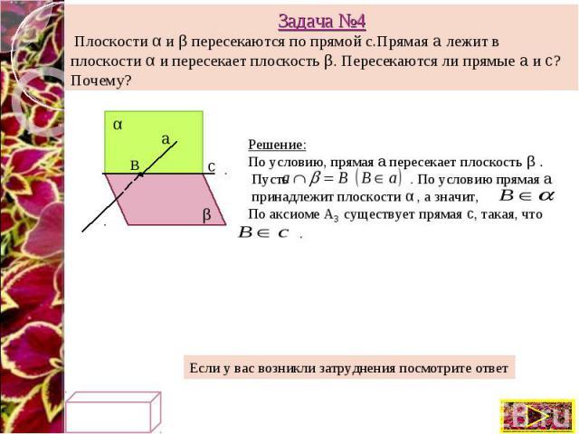 Задача №4 Плоскости α и β пересекаются по прямой с.Прямая а лежит в плоскости α и пересекает плоскость β. Пересекаются ли прямые а и с? Почему? Решение: По условию, прямая а пересекает плоскость β . Пусть . По условию прямая а принадлежит плоскости …