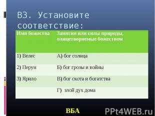 В3. Установите соответствие: ВБА