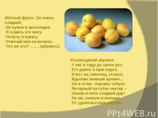 Жёлтый фрукт. Он очень сладкий. Не нужна и шоколадка. Я сушить его могу, Получу