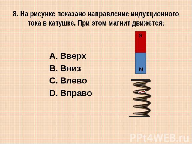 8. На рисунке показано направление индукционного тока в катушке. При этом магнит движется: Вверх Вниз Влево Вправо