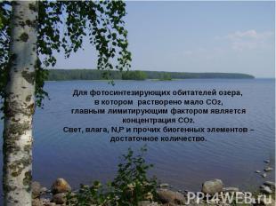Для фотосинтезирующих обитателей озера, в котором растворено мало СО2, главным л