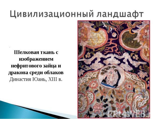 Цивилизационный ландшафт Шелковая ткань с изображением нефритового зайца и дракона среди облаков Династия Юань, XIII в.