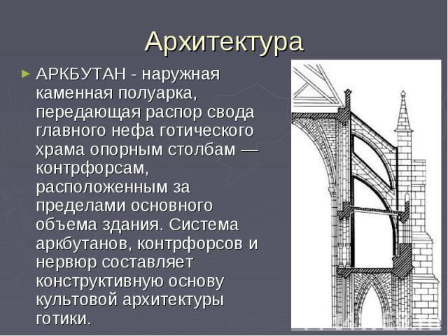 Архитектура АРКБУТАН - наружная каменная полуарка, передающая распор свода главного нефа готического храма опорным столбам — контрфорсам, расположенным за пределами основного объема здания. Система аркбутанов, контрфорсов и нервюр составляет констру…