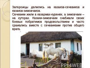 Запорожцы делились на казаков-сечевиков и казаков-зимовчаков. Сечевики жили в ка