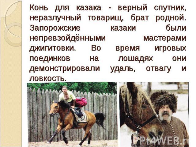 Конь для казака - верный спутник, неразлучный товарищ, брат родной. Запорожские казаки были непревзойдёнными мастерами джигитовки. Во время игровых поединков на лошадях они демонстрировали удаль, отвагу и ловкость.