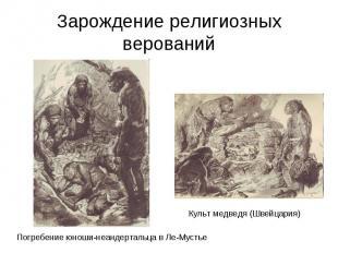 Зарождение религиозных верований Погребение юноши-неандертальца в Ле-Мустье Куль