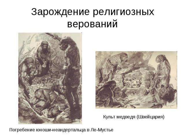 Зарождение религиозных верований Погребение юноши-неандертальца в Ле-Мустье Культ медведя (Швейцария)