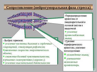 Сопротивление (нейрогуморальная фаза стресса) мобизизация энергии поддержание эн