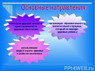 Основные направления: воспитание здоровой личности, ориентированной на здоровый