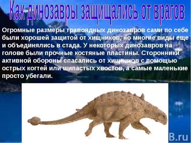 Как динозавры защищались от врагов Огромные размеры травоядных динозавров сами по себе были хорошей защитой от хищников, но многие виды еще и объединялись в стада. У некоторых динозавров на голове были прочные костяные пластины. Сторонники активной …