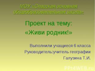 МОУ «Спасская основная общеобразовательная школа» Проект на тему: «Живи родник!»