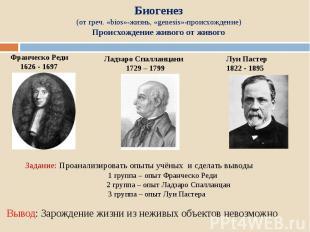 Биогенез (от греч. «bios»-жизнь, «genesis»-происхождение) Происхождение живого о