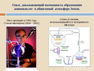 Опыт, доказывающий возможность образования аминокислот в абиогенной атмосфере Зе