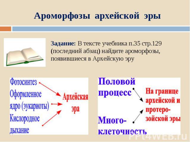 Ароморфозы архейской эрыЗадание: В тексте учебника п.35 стр.129 (последний абзац) найдите ароморфозы, появившиеся в Архейскую эру
