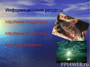 Информационные ресурсы: http://www.krugosvet.ru http://www.life-ocean.ru http://