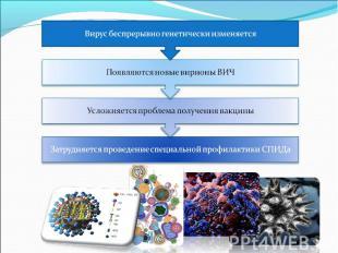 Вирус беспрерывно генетически изменяется Появляются новые вирионы ВИЧ Усложняетс