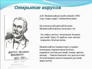 Открытие вирусовД.И. Ивановский русский ученый в 1892 году открыл вирус табачной