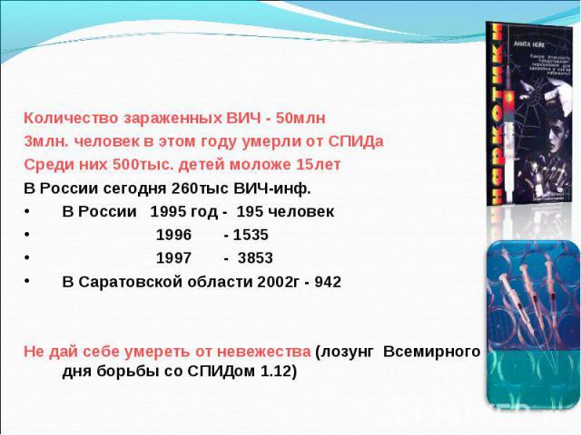 Количество зараженных ВИЧ - 50млн 3млн. человек в этом году умерли от СПИДа Среди них 500тыс. детей моложе 15лет В России сегодня 260тыс ВИЧ-инф. В России 1995 год - 195 человек 1996 - 1535 1997 - 3853 В Саратовской области 2002г - 942 Не дай себе у…