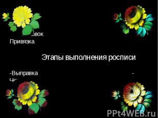-Подмалевок - Привязка Этапы выполнения росписи -Выправка - Чертежка