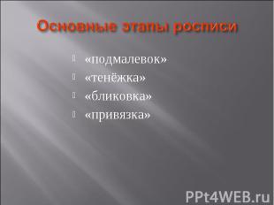 Основные этапы росписи «подмалевок» «тенёжка» «бликовка» «привязка»