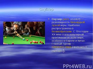Сну керСну кер (англ.snooker)— разновидность бильярдной лузной игры. Наиболее