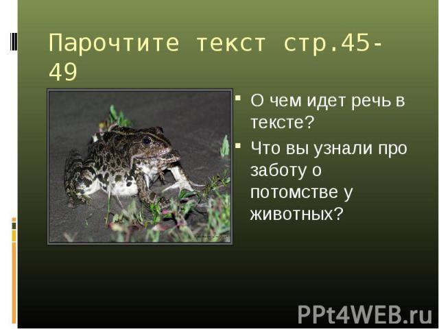 Парочтите текст стр.45-49 О чем идет речь в тексте? Что вы узнали про заботу о потомстве у животных?