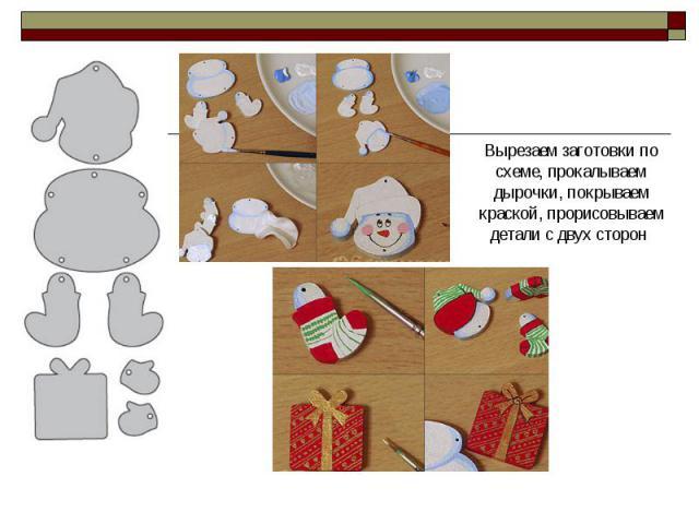 Вырезаем заготовки по схеме, прокалываем дырочки, покрываем краской, прорисовываем детали с двух сторон