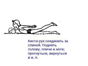 Кисти рук соединить за спиной. Поднять голову, плечи и ноги; прогнуться, вернуть