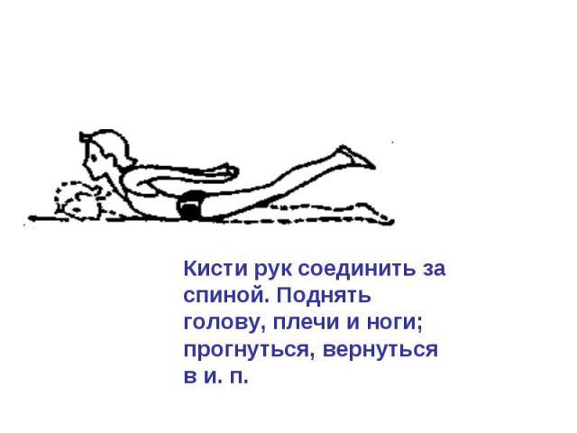 Кисти рук соединить за спиной. Поднять голову, плечи и ноги; прогнуться, вернуться в и. п.