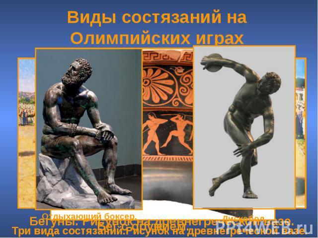 Виды состязаний на Олимпийских играх Три вида состязаний.Рисунок на древнегреческой вазе. Бегуны. Рисунок на древнегреческой вазе.